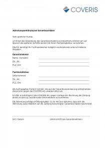 Abtretungserklärung bei Garantieschäden